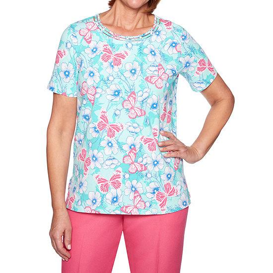 Alfred Dunner Classics-Womens Crew Neck Short Sleeve T-Shirt