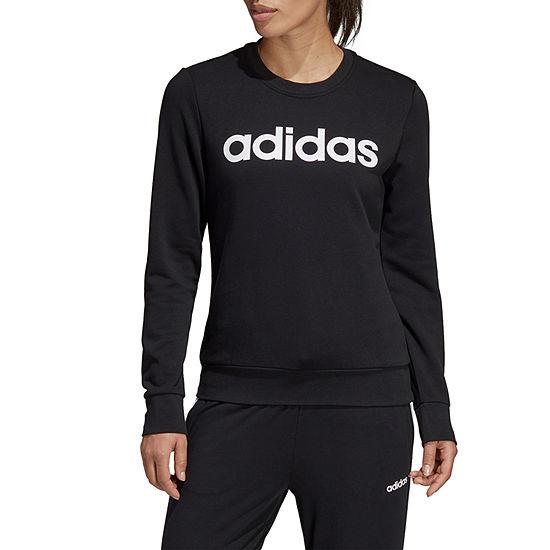 adidas Linear Logo Crew Ft Pullover Womens Crew Neck Long Sleeve Sweatshirt