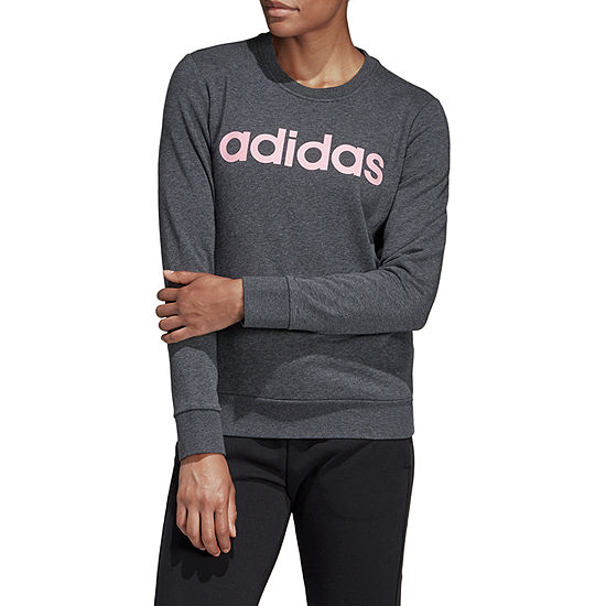 adidas Linear Logo Crew Ft Pullover Womens Crew Neck Long Sleeve Sweatshirt