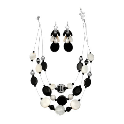 Mixit Black And White Shell Lab Created 2-pc. Jewelry Set