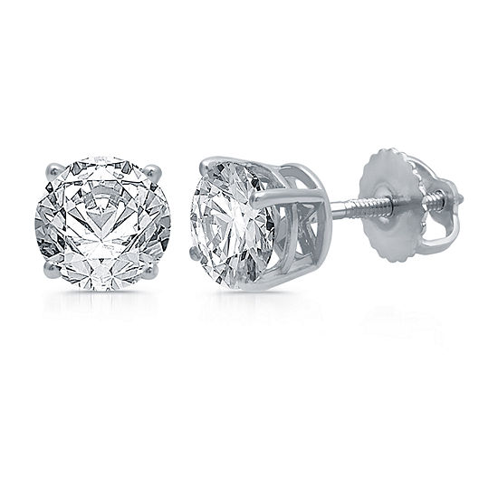 2 CT. T.W. Genuine White Diamond 10K White Gold Stud Earrings