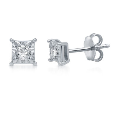 1/6 CT. T.W. Genuine White Diamond 4mm Stud Earrings