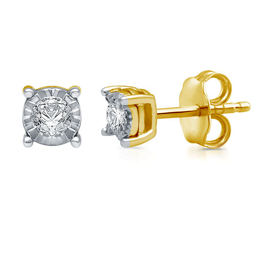 1/5 CT. T.W. Genuine White Diamond 14K Gold Over Silver 5.7mm Stud Earrings