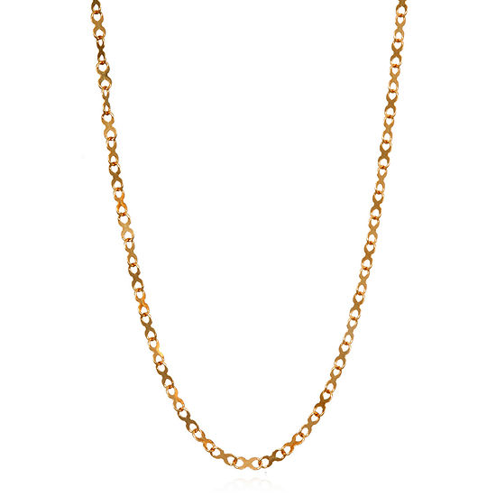 Made in Italy 14K Rose Gold 18 Inch Solid Link Chain Necklace