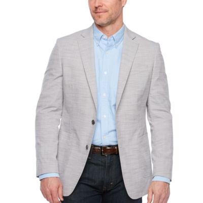 Stafford Medium Gray Slub Slim Fit Sport Coat