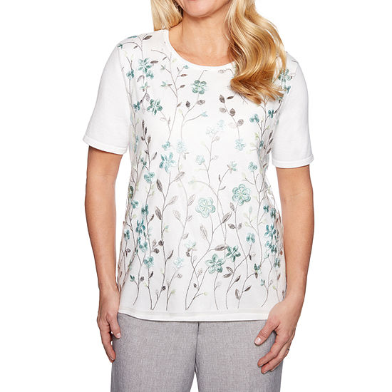 Alfred Dunner Womens Crew Neck Short Sleeve Floral Pullover Sweater