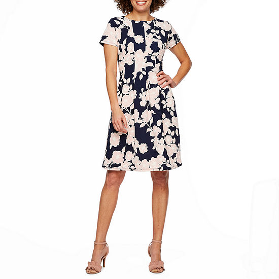 Ronni Nicole Short Sleeve Floral Puff Print Fit & Flare Dress