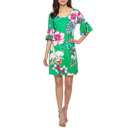 Ronni Nicole Short Bell Sleeve Floral Shift Dress