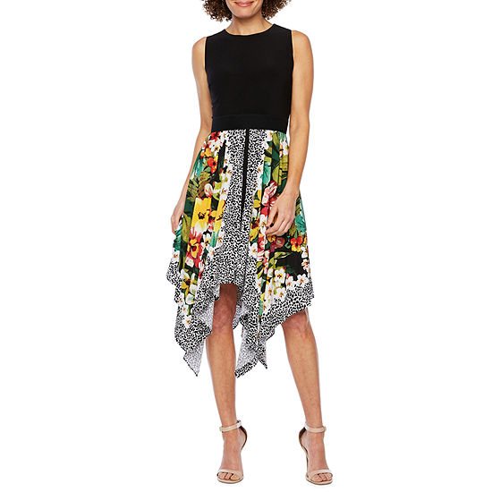 Danny & Nicole Sleeveless Floral Animal Fit & Flare Dress