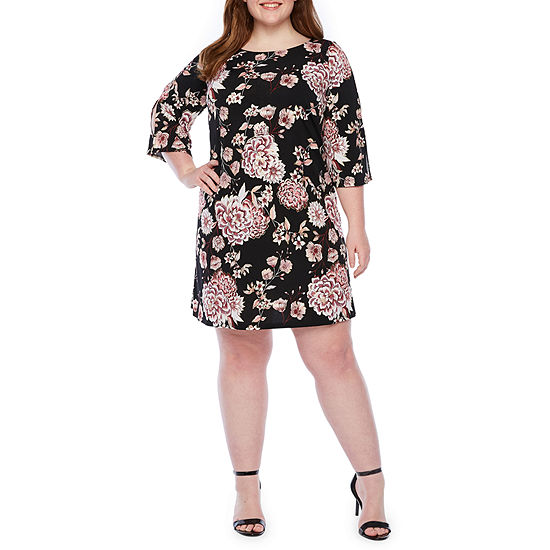 MSK 3/4 Sleeve Floral Puff Print Shift Dress-Plus