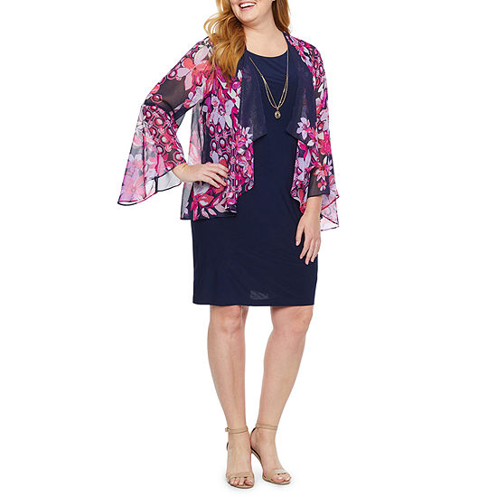Tiana B 3/4 Sleeve Floral Faux Jacket Dress-Plus