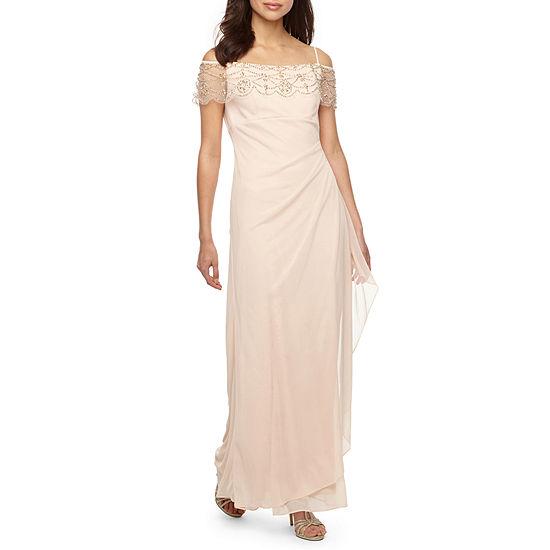 DJ Jaz Short Sleeve Cold Shoulder Embellished Evening Gown