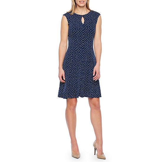 Liz Claiborne Cap Sleeve Dots Fit & Flare Dress