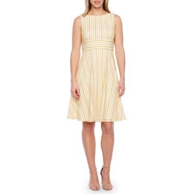 Liz Claiborne Sleeveless Textured Stripe Fit & Flare Dress