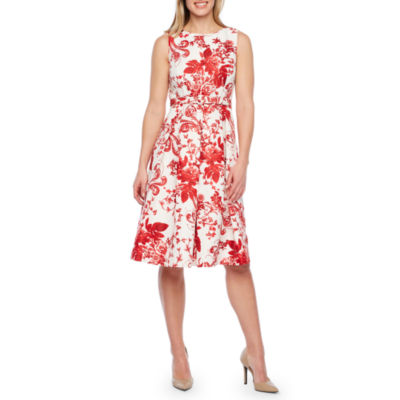 Liz Claiborne Sleeveless Floral Belted Fit & Flare Dress