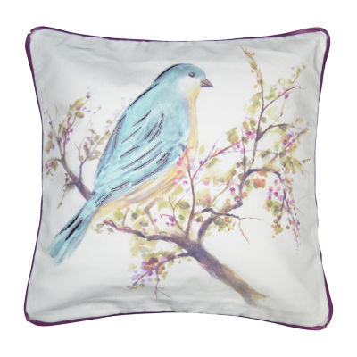 Bird And Berry Square Throw Pillow