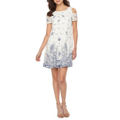 Robbie Bee Short Cold Shoulder Sleeve Lace Paisley Shift Dress