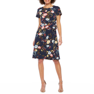 Robbie Bee Short Sleeve Floral Dot Puff Print Fit & Flare Dress