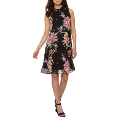 Robbie Bee Sleeveless Floral Puff Print Swing Dresses