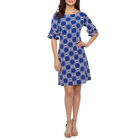 Ronni Nicole Short Bell Sleeve Circle Puff Print Shift Dress