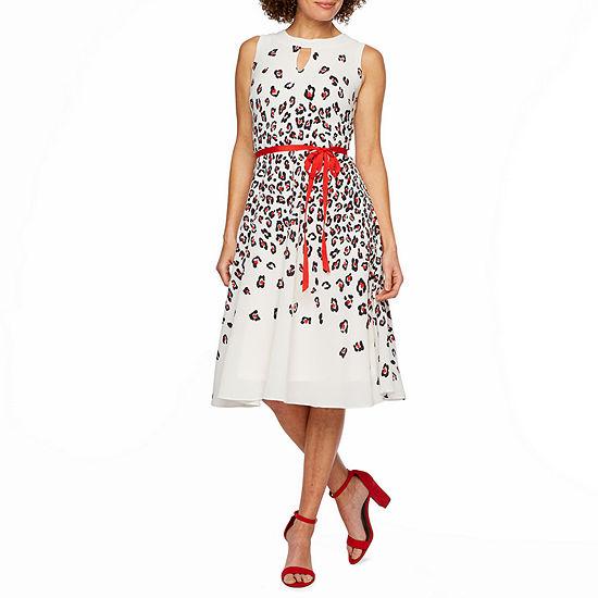 Danny & Nicole Sleeveless Leopard Midi Fit & Flare Dress