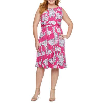 Perceptions Sleeveless Floral Puff Print Fit & Flare Dress-Plus