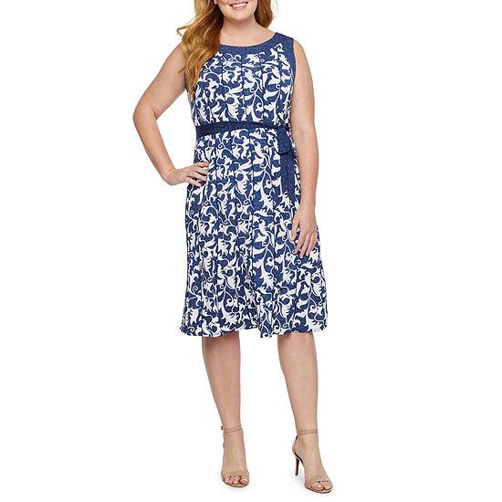 Perceptions Sleeveless Leaf Puff Print Fit & Flare Dress-Plus