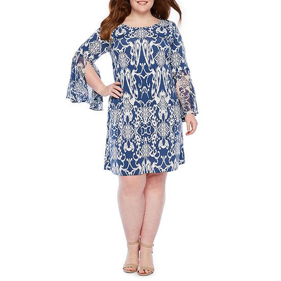 MSK Long Split Sleeve Scroll Shift Dress-Plus