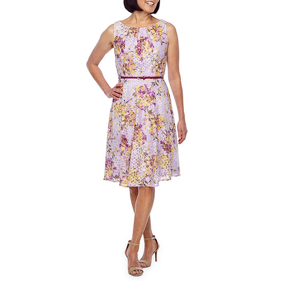 Black Label By Evan Picone Sleeveless Floral Fit Flare Dress