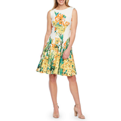Liz Claiborne Sleeveless Floral Fit & Flare Dress