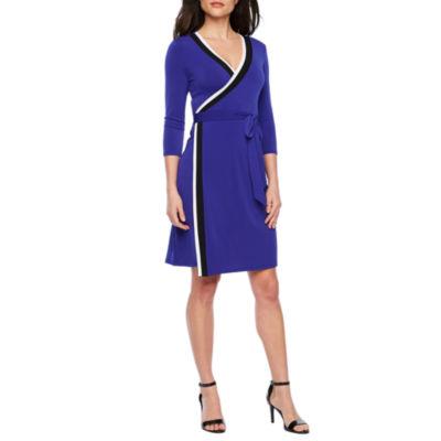 Bold Elements 3/4 Sleeve Wrap Dress