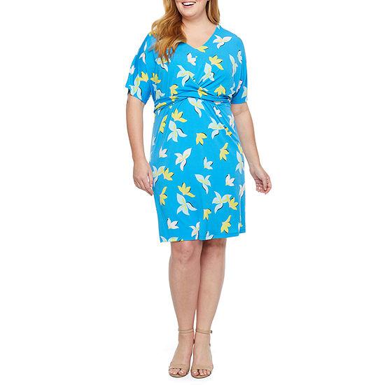 Worthington Elbow Sleeve Twist Detail Knit Dress - Plus