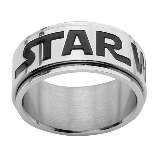 Star Wars® Logo Mens Stainless Steel Spinner Ring