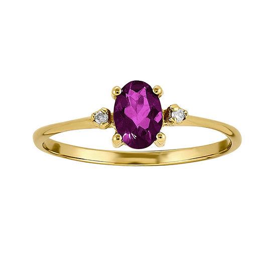 Genuine Red Rhodolite Diamond-Accent 14K Yellow Gold Ring