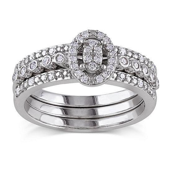 1/3 CT. T.W. Diamond Sterling Silver Bridal Ring Set