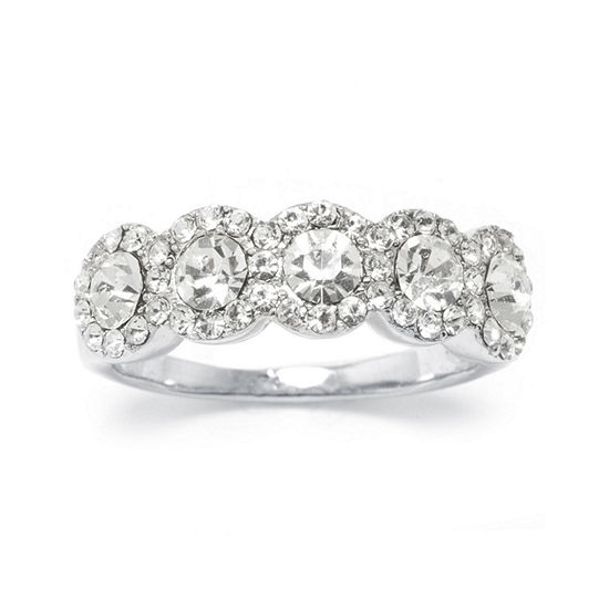 Sparkle Allure Pure Silver Over Brass Crystal Cocktail Ring