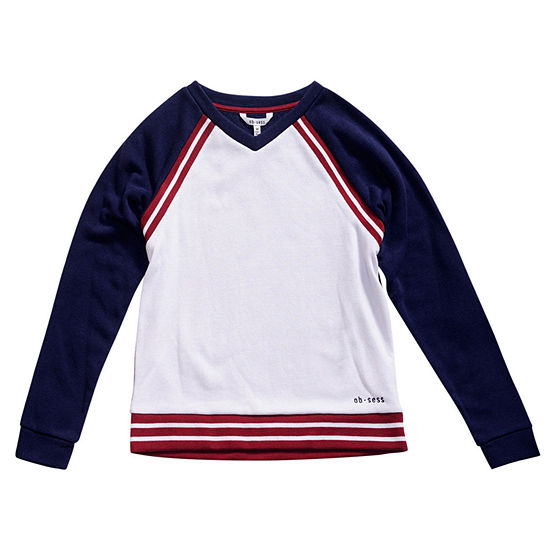 Obsess Big Girls V Neck Long Sleeve Sweatshirt