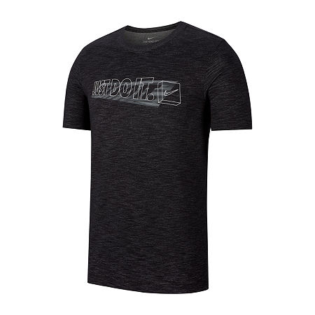 Nike Mens Crew Neck Short Sleeve Moisture Wicking Dri-Fit T-Shirt. Small . Black