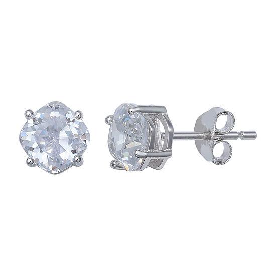 Silver Treasures Cubic Zirconia Sterling Silver 6mm Stud Earrings