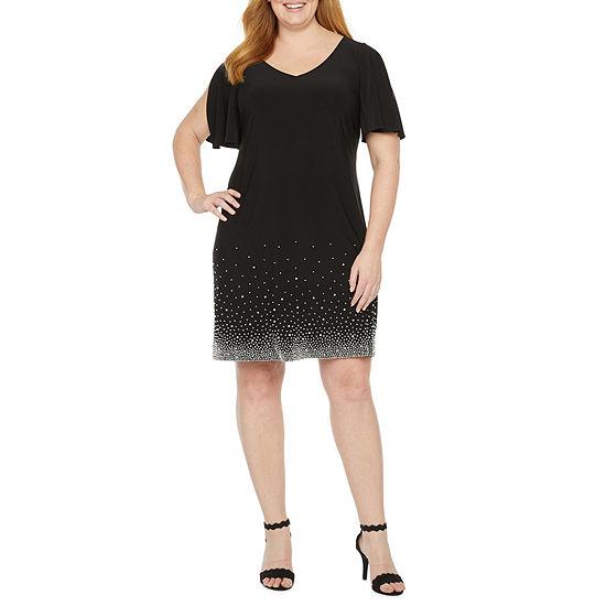 MSK Short Sleeve Beaded Shift Dress - Plus