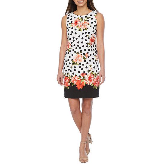 Alyx-Petite Sleeveless Floral Dot Sheath Dress