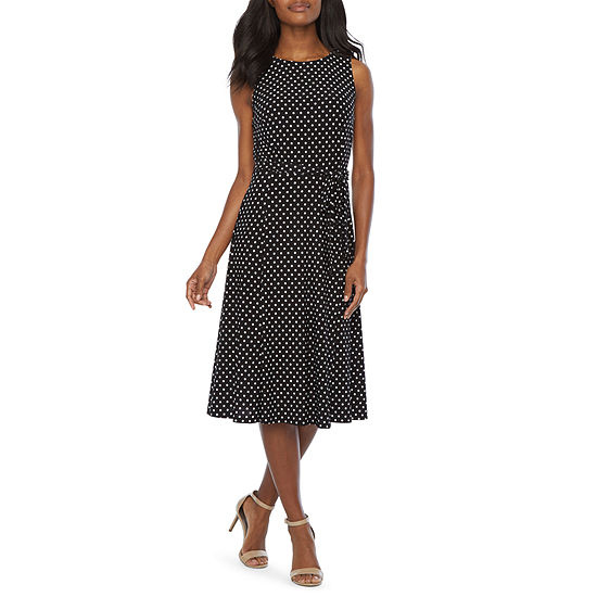 Black Label by Evan-Picone Sleeveless Dots A-Line Dress