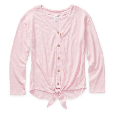 Arizona Girls Long Sleeve Button-Front Shirt Preschool / Big Kid