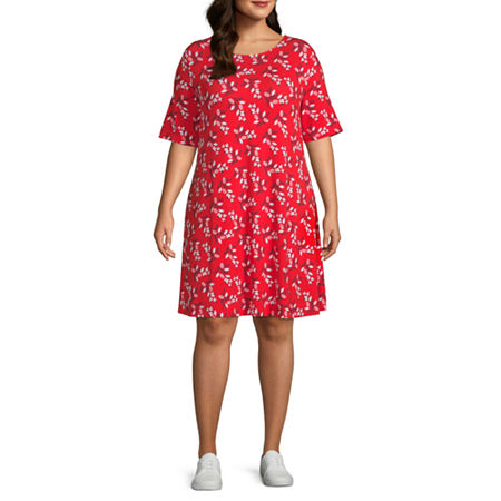 St. John's Bay Short Sleeve Trapeze Dress-Plus, 0x , Red