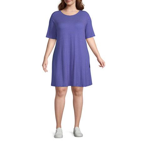 St. John's Bay Short Sleeve Trapeze Dress-Plus, 0x , Blue