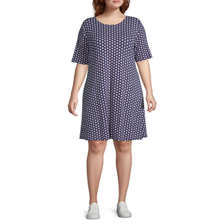 St. John's Bay Short Sleeve Trapeze Dress-Plus, 0x , Blue