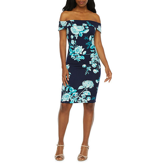 Premier Amour Short Sleeve Floral Sheath Dress