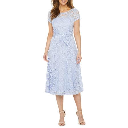 Vintage Style Dresses | Vintage Inspired Dresses Perceptions Short Sleeve Lace Fit  Flare Dress Small  Purple $34.39 AT vintagedancer.com