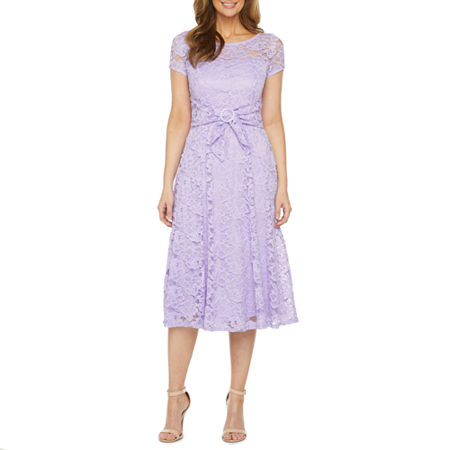 1930s Day Dresses, Afternoon Dresses History Perceptions Short Sleeve Lace Fit  Flare Dress Small  Purple $37.49 AT vintagedancer.com