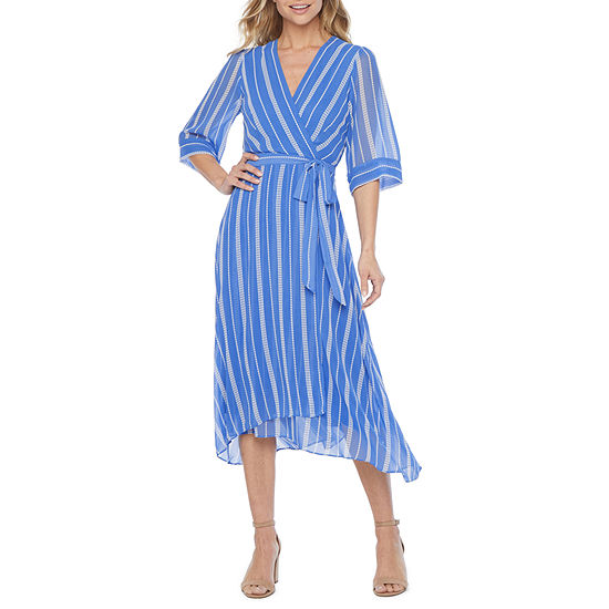 Danny & Nicole 3/4 Sleeve Striped Fit & Flare Dress